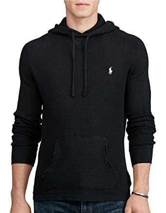 POLO Ralph Lauren Men\u0027s WAFFLE-KNIT Cotton HOODIE (Black) - L