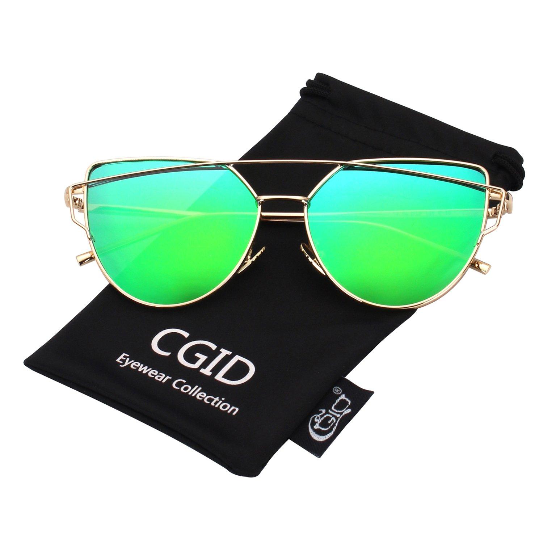 CGID MJ74 Women's Modern Fashion Mirror Polarized Cateye Sunglasses Goggles UV400 Black Gray CAT74MJ-1