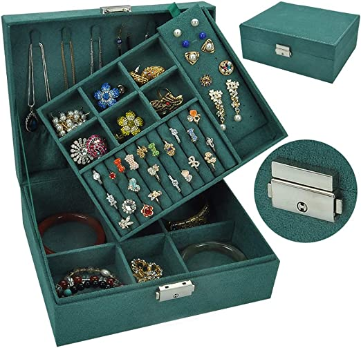 GWW 2 Capas Caja Joyero,Vintage Lockable Caja para Joyerías,Lint Organizador De Anillos De Collar Pendientes Pulseras,Mujeres Soporte De La Joyería Verde 23 * 18,5 * 9 Cm: Amazon.es: Hogar
