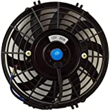 Upgr8 Universal High Performance 12V Slim Electric Cooling Radiator Fan with Fan Mounting Kit (9 Inch, Black)