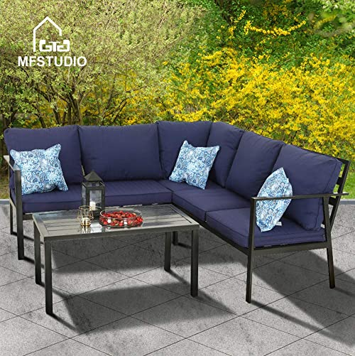 PHIVILLA 4 Piece Outdoor Sofa Set Metal Patio Dining Set Outdoor Furniture Sectional Set Cushioned Conversation Set Garden Bistro Set