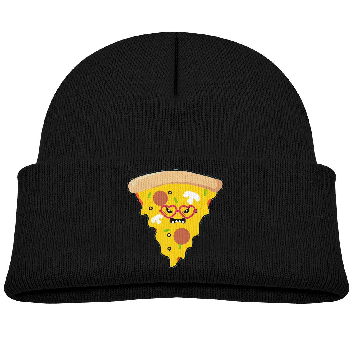 Youre A Real Pizza Knitted Hat Warm Skull Beanies Childrens Cuffed Plain Cap