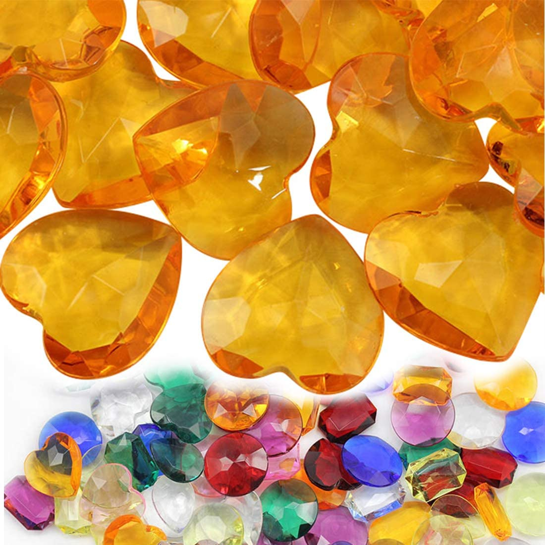 27mm Amber CH16 Heart Acrylic Pirate Treasure Gems Plastic Jewels for Party & Games, Table Scatter, Vase Fillers, Wedding Decor Gemstones Favors - 20 Pieces