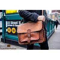 """Leather Native 16"""" Maletin para Portatíl - Estilo Vintage, Casual y Ejecutivo - para Estudiantes Universitarios, Trabajadores de Oficina y Hombre de Negocios - Mochila de Viaje de Cuero Color Marrón"""