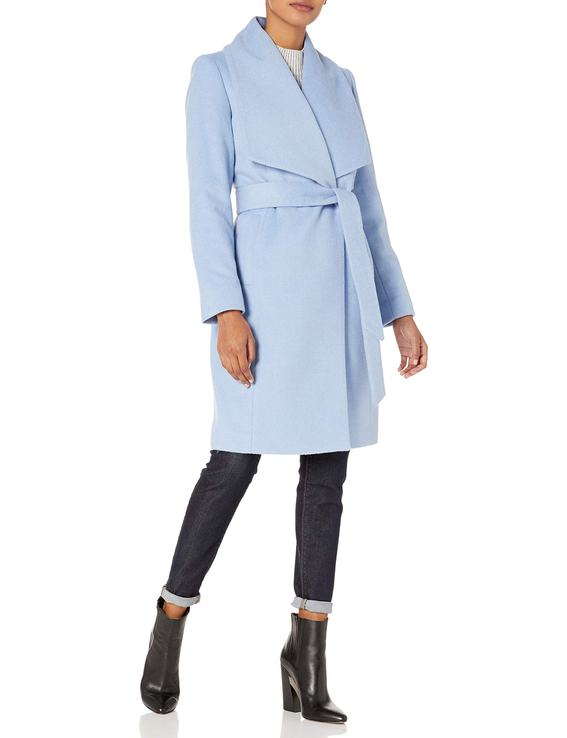Cole Haan Women's Slick Wool wrap Coat, Ice Blue, 6 by Cole Haan
