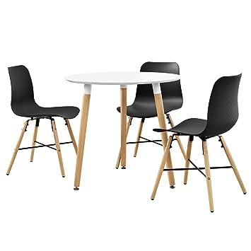 en.casa] Esstisch in Weiß (Rund - ø80cm) mit 3 Design-Stühlen ...