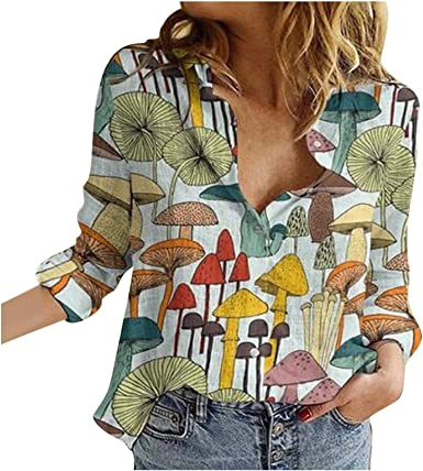 HIKO23 Hawaiian Shirts for Women Funny Cute Mushroom Print Button Down Casual V-Neck Long Sleeve Tops and Blouses