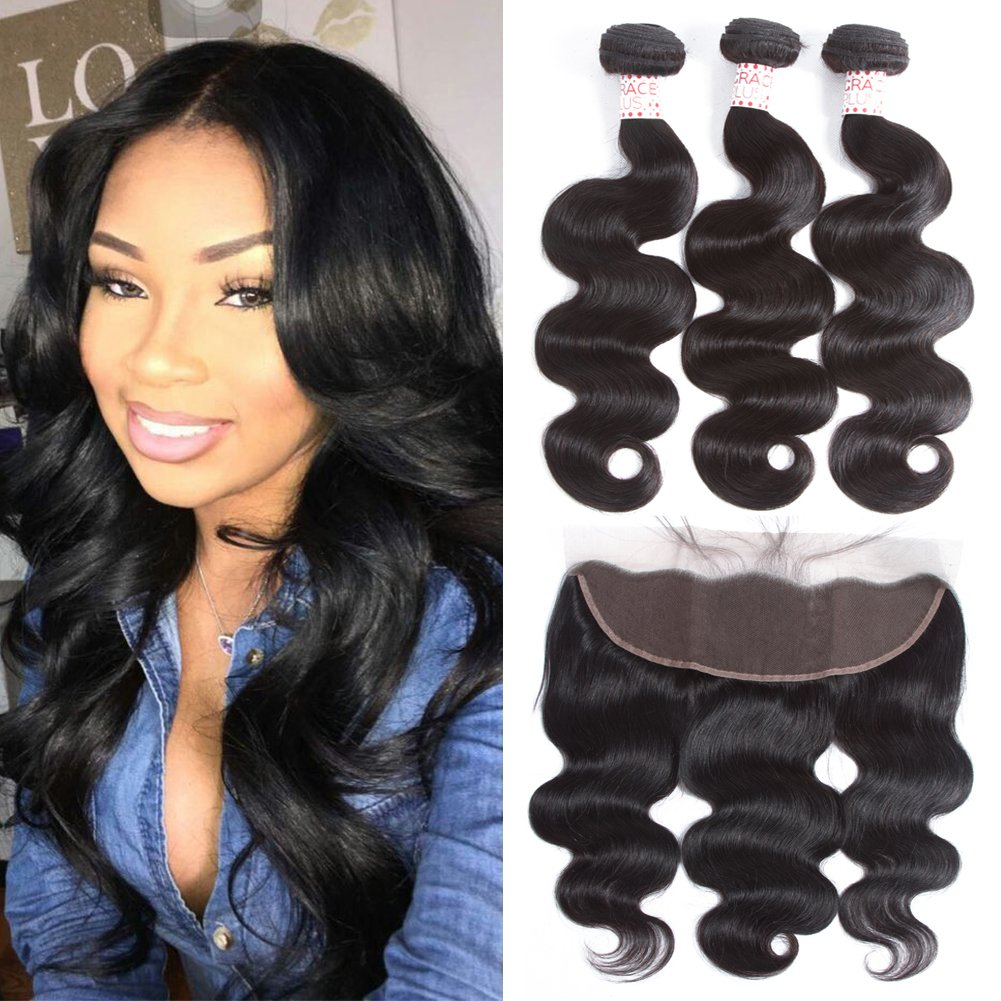 Grace Plus Hair Brazilian Body Wave 3 Bundles with Frontal Ear to Ear Lace Frontal Closure with Bundles Brazilian Hair with Closure Human Hair Extensions Lace Frontal with Baby Hair (8 10 12+8) HENGHUI