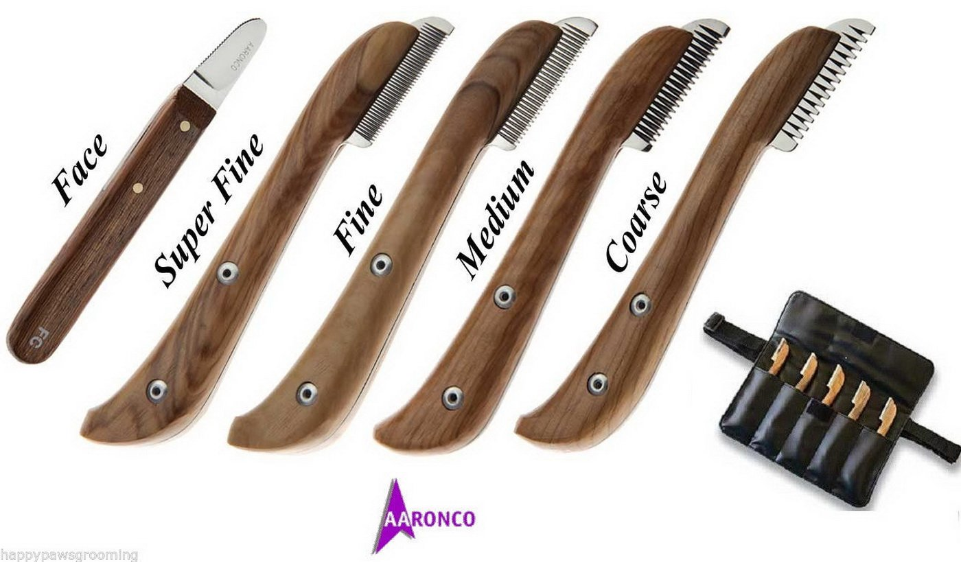 Aaronco Genuine Pro Stripping Knives 5 Pc Knife SET W/case DOG Grooming Carding by Aaronco