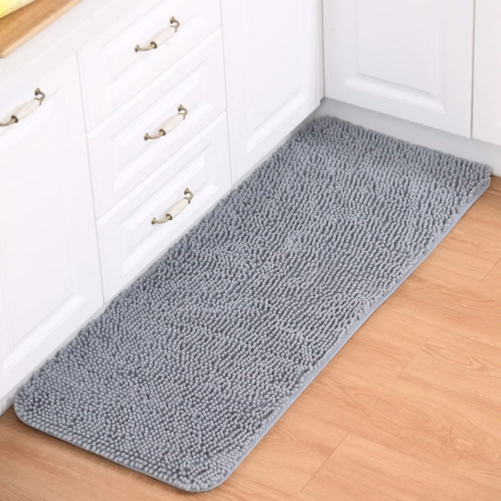 Plush Bath mat,Chenille Microfiber Floor mat,Ultra Soft Bathroom Absorbent Bedroom Area Rugs Kitchen Rugs Non Skid-Gray 40x120cm(16x47inch)