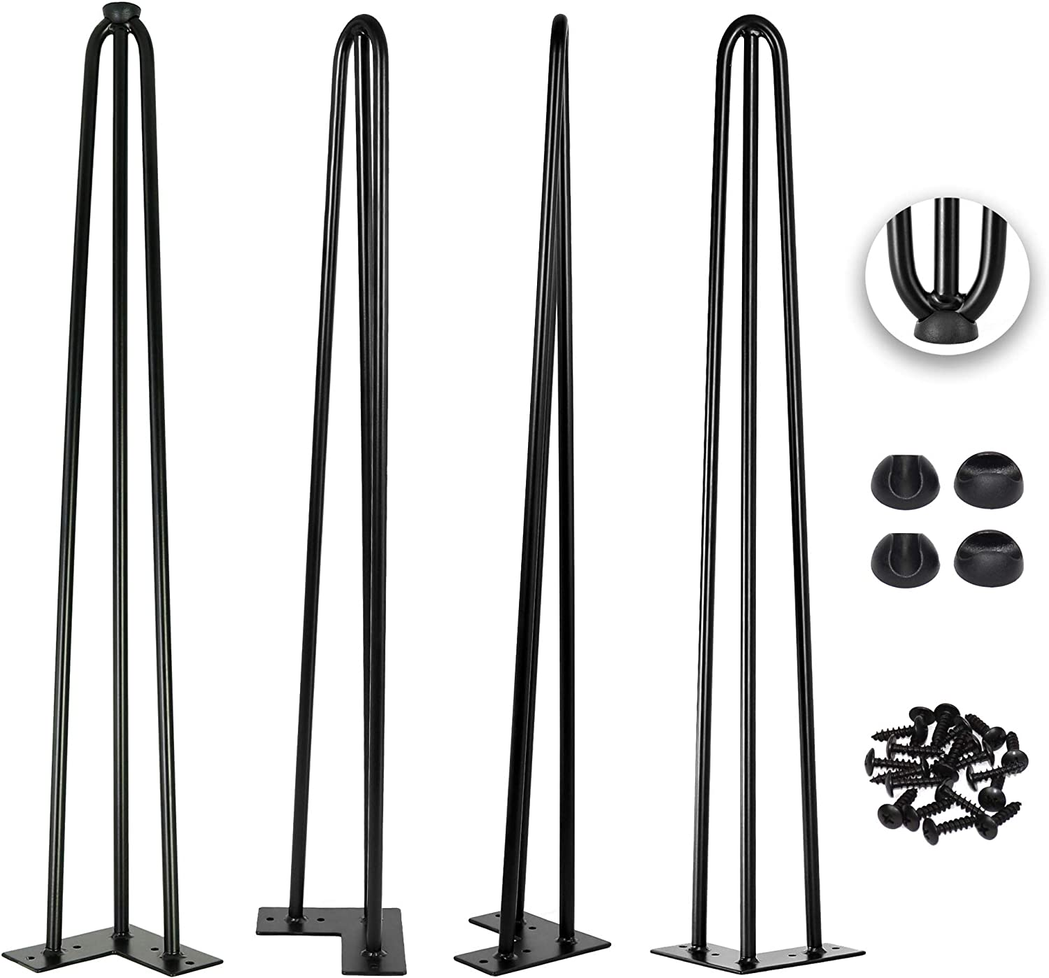 30 Inch Hairpin Legs 1/2 Inch Thick - Satin Black - Leg Protectors, Screws, Set of 4 – Easy to Install - Metal Legs - Desk Legs - Furniture Legs - Mid Century Modern by Homeland Hardware