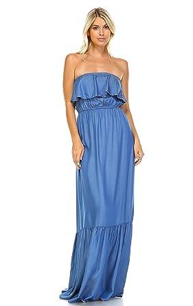 6ab7f36bea Zoozie LA Women s Chambray Ruffled Overlay Tube Maxi Dress at Amazon ...