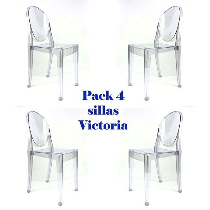 Oui Home - Pack 4 sillas Victoria Ghost Transparentes