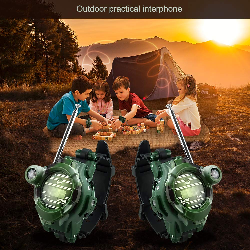 Petask Kids Walkie Talkies and Binoculars for Kids - Outdoor Toys Two-Way Radios Walky Talky for Children, Cool Outdoor Walkie Talkie Kit for Boys and Girls + Kids Binoculars, Camouflage by Petask (Image #3)
