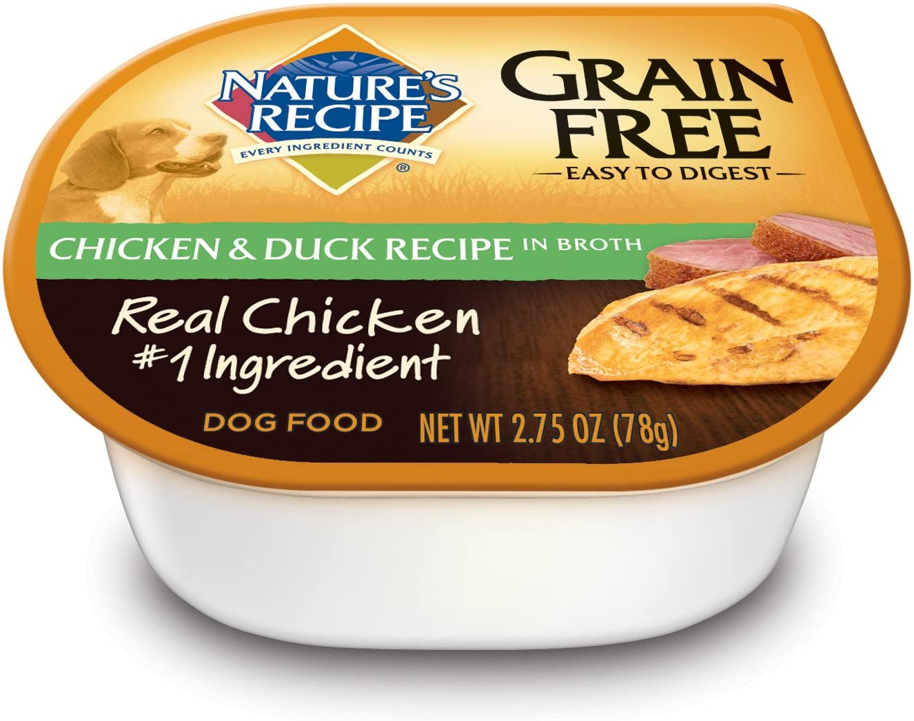 Nature's Recipe Grain Free Wet Dog Food, Chicken & Duck Recipe In Broth, 2.75-Ounce Cup (Pack of 24)