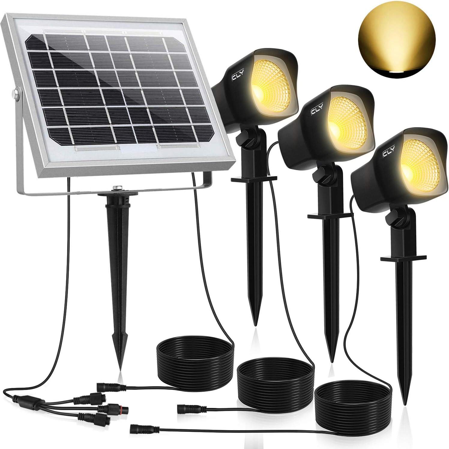 Solar Proyector LED CLY,Iluminación Blanco Cálido,Impermeable IP66 Foco Solar Exterior con Tres Bombilla para Jardín,Césped,Patio,Camino,Corredor ect.