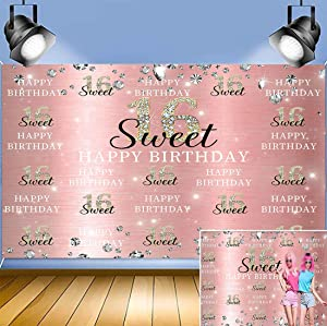 Rose Gold Diamond Shining Photography Background 7X5FT Sweet Princess Girls Happy 16th Birthday Photo Backdrops Sweet Sixteen Step Birthday Party Banner Decor Dessert Cake Table Props Vinyl