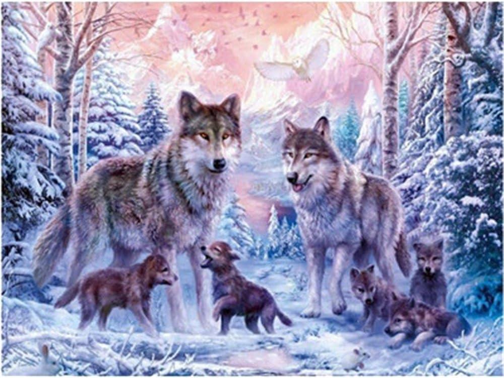 Zeichnen mit Pinsel Weihnachtsdekor Dekorationen Geschenke Frame Gl/ückliche Wolfs Familie Diy /Ölgem/älde Malen nach Nummer Kit f/ür Kinder Erwachsene Anf/änger 16x20 Zoll