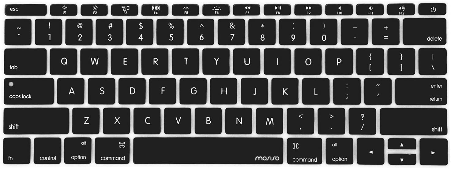 MOSISO Silicone Keyboard Cover Protective Skin Compatible with MacBook Pro 13 inch 2017 & 2016 Release A1708 Without Touch Bar, MacBook 12 inch A1534, Black