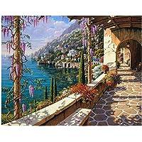 HOMYL DIY 5D Mediterranean Diamond Sticker Embroidery Cross Stitch Painting by Number Kit Arts Crafts 30x25cm