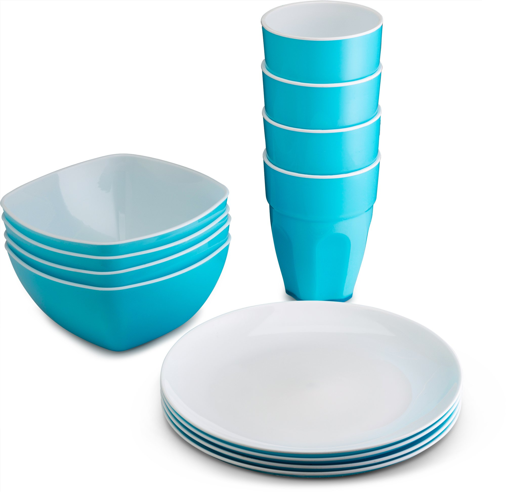 PLASTI HOME Reusable Plastic Dinnerware Set (12pcs) – Fancy Hard Plastic Plates, Bows & Cups In Blue Colors – Microwaveable & Dishwasher Safe Flatware & Tumblers For Daily Use