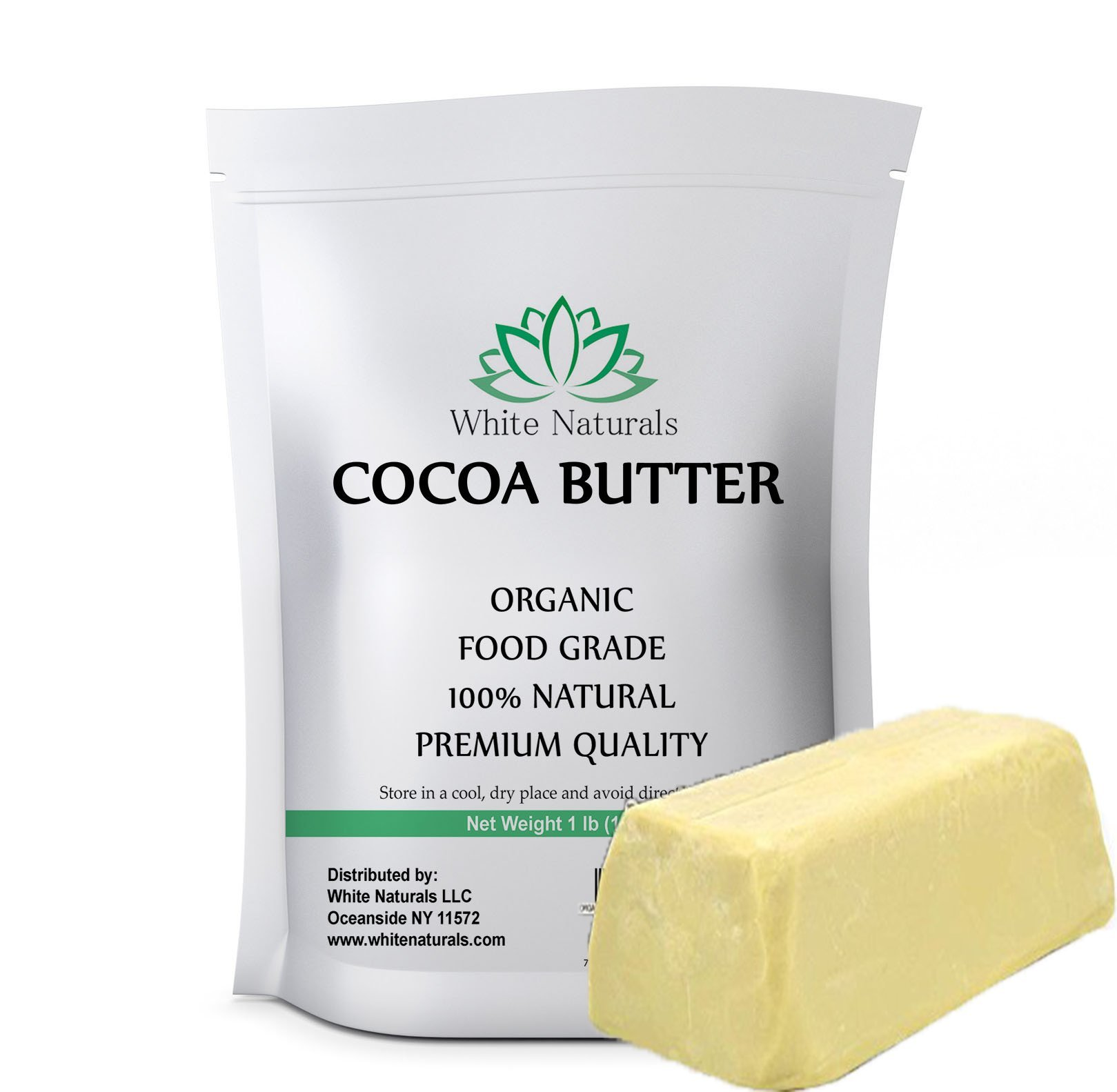 Organic Raw Cocoa Butter 1 lb, Food Grade, Unrefined, Pure, Natural, Perfect For Skin Care & Hair Care, All DIY Recipes,16 oz By White Naturals