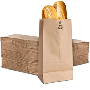 Stock Your Home 12 Lb Kraft Brown Paper Bags (100 Count) - Large Paper Lunch Bags for Packing Lunch and Snacks - Blank Brown Lunch Sacks for Arts & Crafts Projects