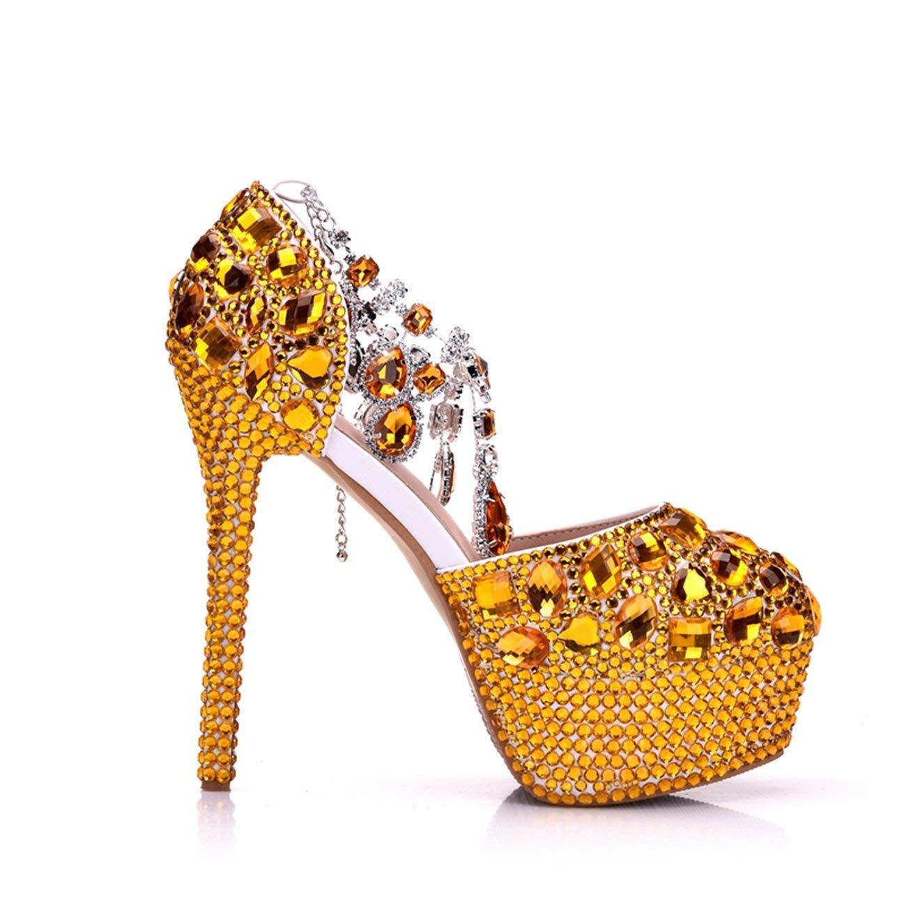 Qiusa Qiusa Qiusa Damen-Glitter-hohe Plattform-Stilett-Fersen-Knöchel-Ketten-Goldhochzeits-Abend-Pumpen beschuht Großbritannien 4 (Farbe   - Größe   -) 4d0ab5