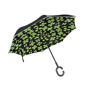 jstel doble capa puede verde hojas paraguas de día de San Patricio de coches Reverse resistente