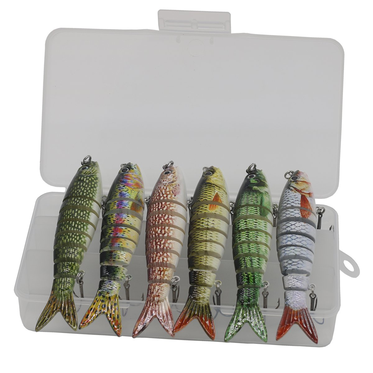 Modenpeak Multi Jointed Swim Bait Life-Like Fishing Hard Lure 5 Inch 1OZ 6Pcs by Modenpeak (Image #1)