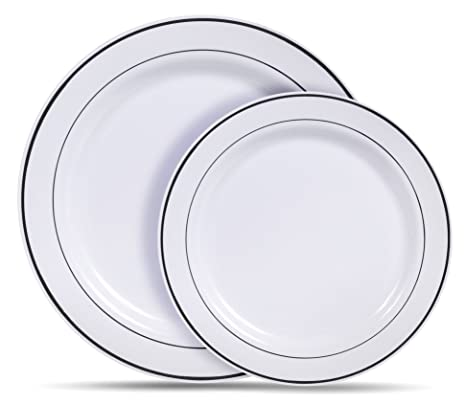 Amazon.com: Select Settings [60 COUNT] White with Silver Rim Plastic ...