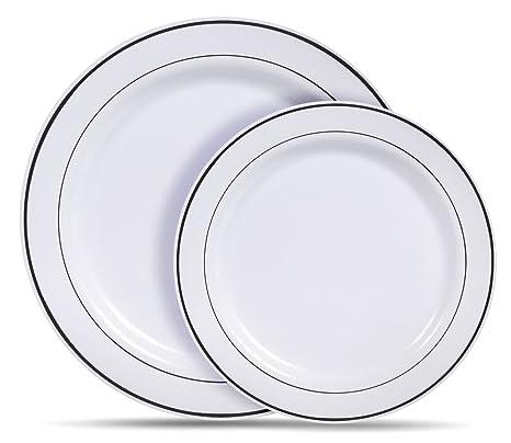 Select Settings [60 COUNT] White with Silver Rim Plastic Disposable Plates 30 Dinner  sc 1 st  Amazon.com & Amazon.com: Select Settings [60 COUNT] White with Silver Rim Plastic ...