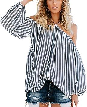 Camiseta Sexy Mujer Camisetas de Rayas Casual para Mujer Blusa con Hombros Descubiertos sin Tirantes niña Moda Camisas Mujer Fiesta Elegantes: Amazon.es: Deportes y aire libre