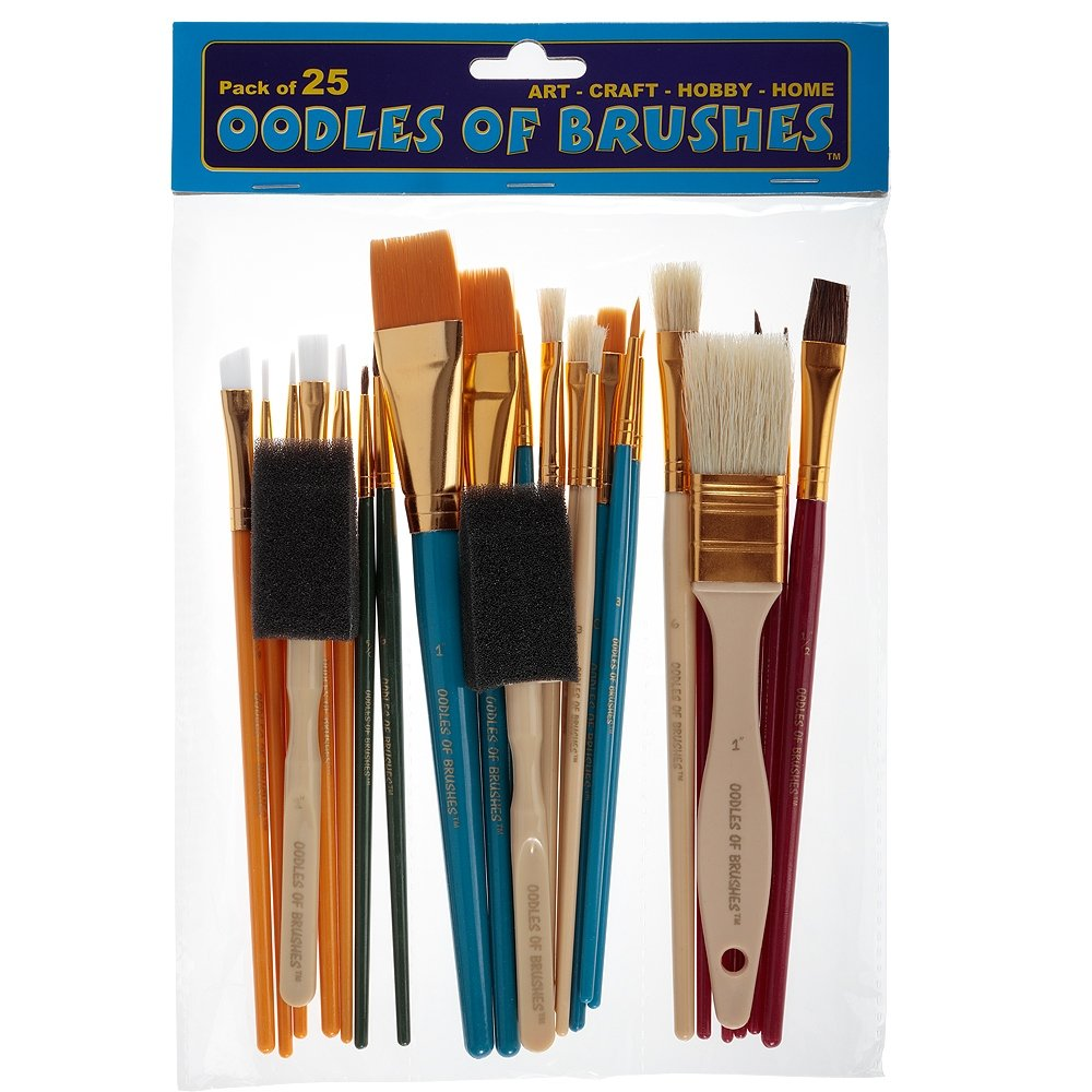 OODLES OF Paint Brushes Kid's Art, Paint, Craft & Multiple Mediums, Beginner Artist & Classroom [Set of 25 Assorted Bulk Pack] Perfect For Watercolor, Oil, Acrylic, Tempera Paints & More 4336960815