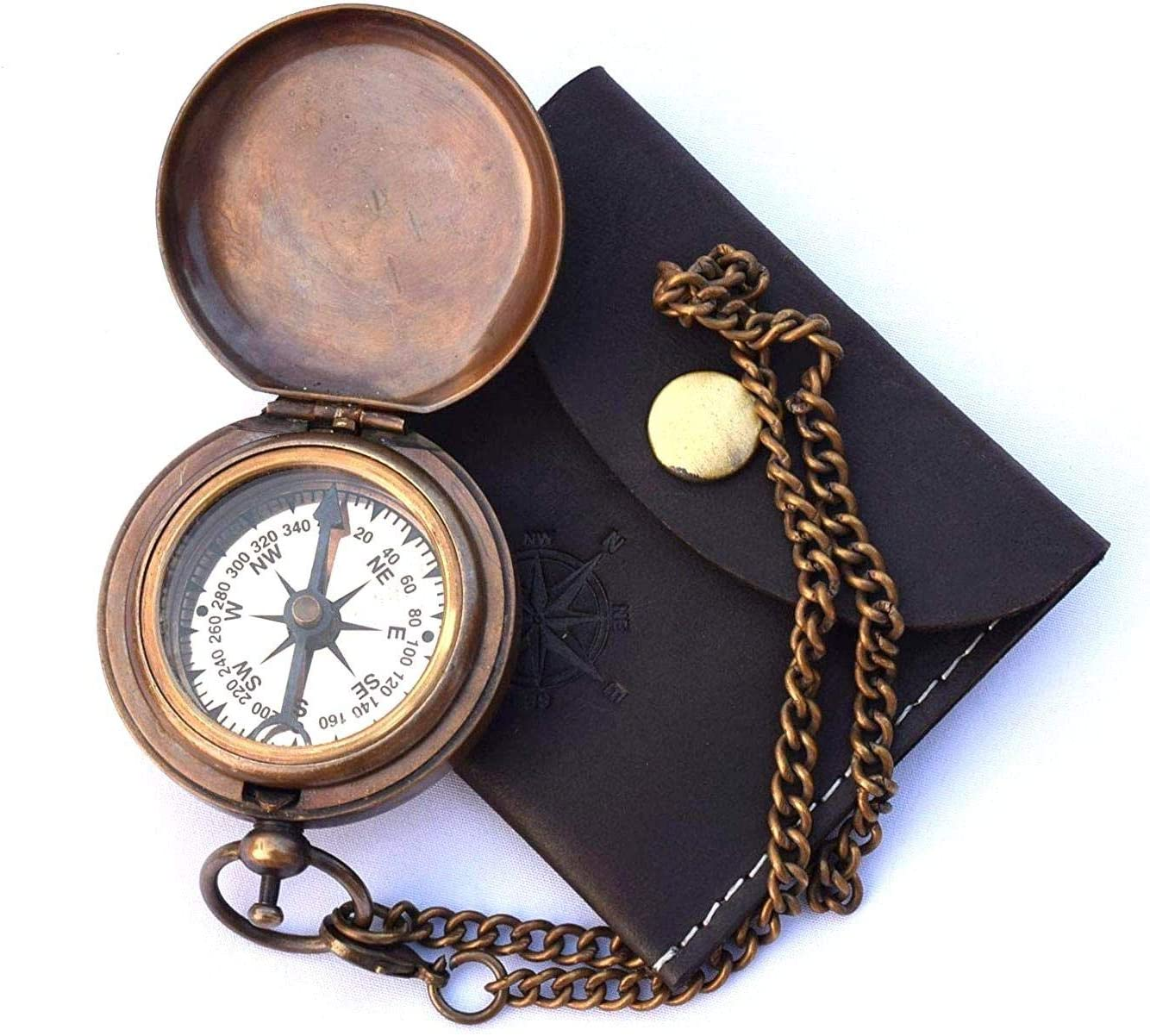 Authentic Nautical Vintage Style Brass Pocket Compass with Leather Case