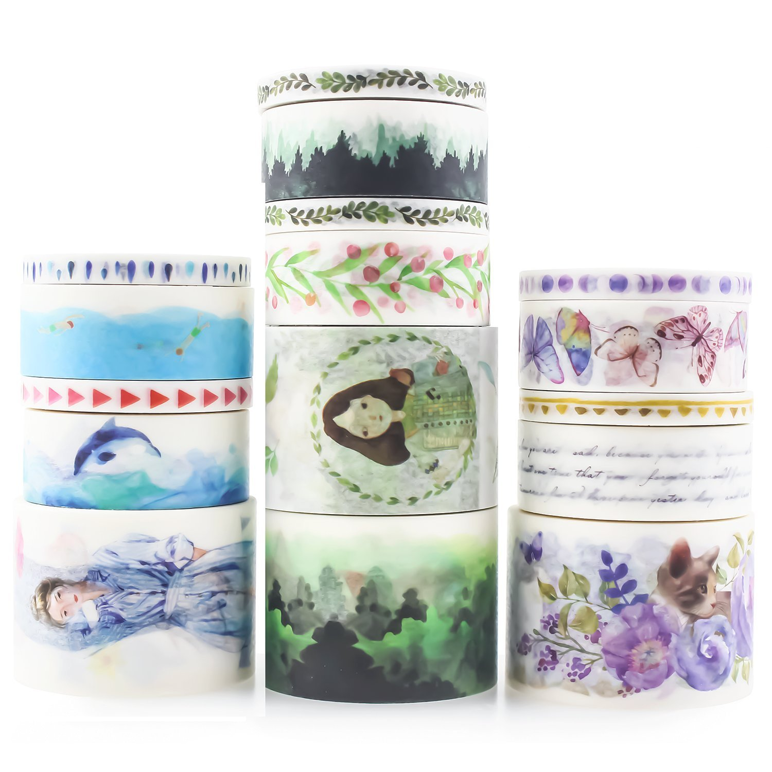 Zeker Washi Tape Set 23 Rolls Masking Decorative Tapes Fit DIY Scrapbooking Crafts Wrapping Thin 4336847064