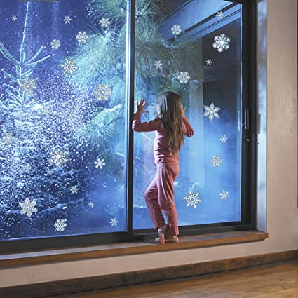Amazoncom Glitter Snowflakes Window Clings Christmas Decorations - Snowflake window stickers amazon