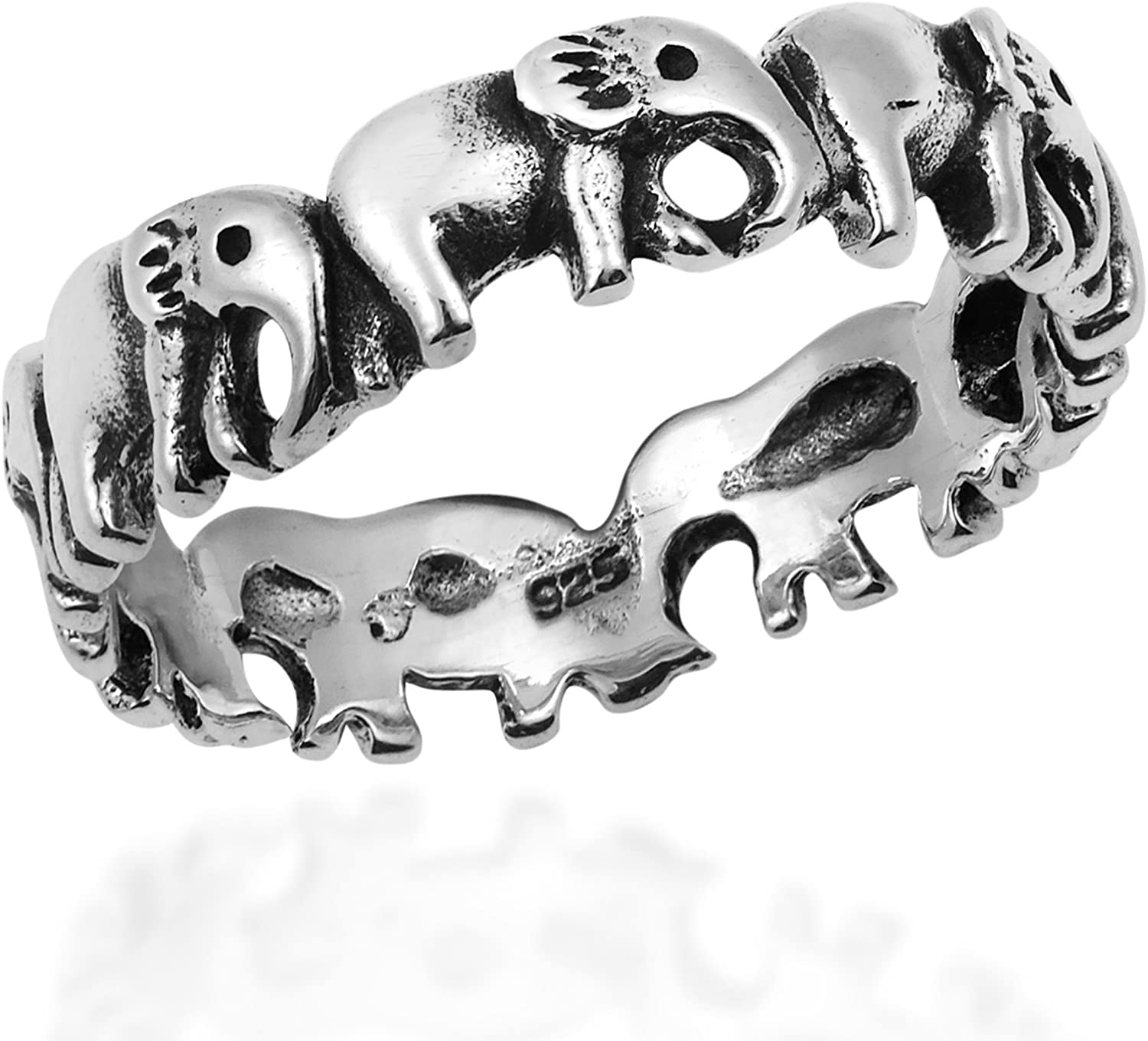 AeraVida Enchanting Elephant Parade .925 Sterling Silver Band Ring