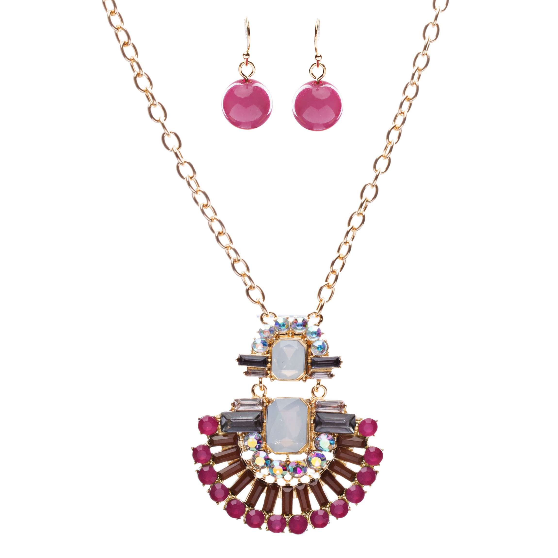 Unique Fashion Crystal Rhinestone Fan Charm Necklace And Earrings JN222 Pink