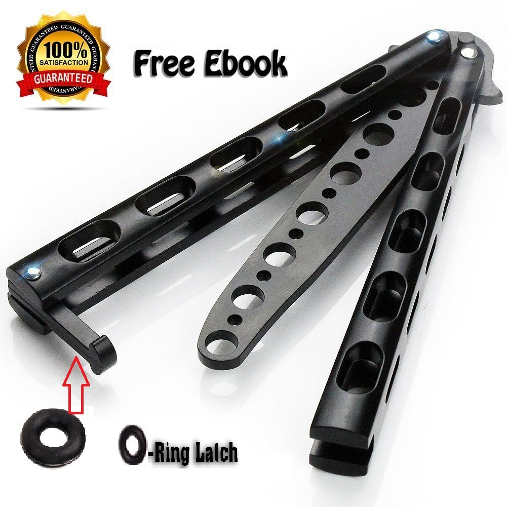 Anlado Balisong Butterfly Knife Trainer Practice with O-Ring Latch -  Enhanced Version - Black Metal Steel - no Offensive Blade - for Beginner,
