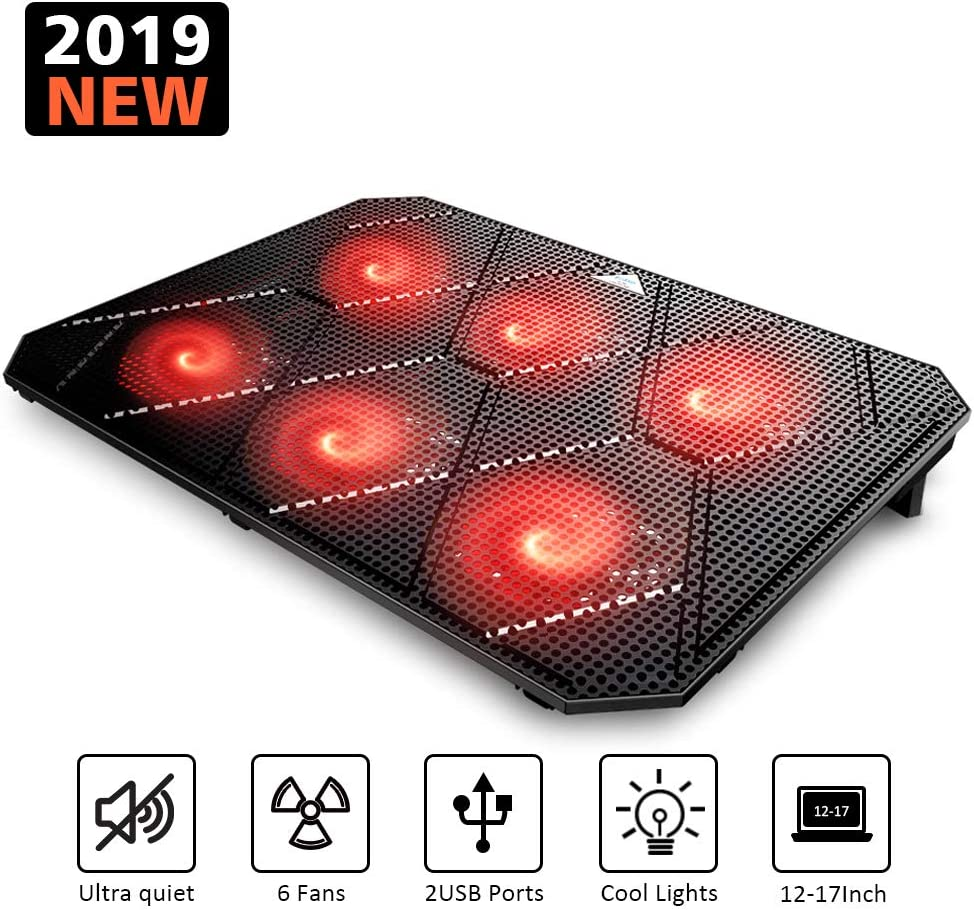 Pccooler Laptop Cooling Pad, Powerful Slim Quiet Laptop Cooler for Gaming Laptop - 6 Red LED Fans - Dual USB 2.0 Ports - Portable Height Adjustable Laptop Stand, Fits 12-17 Inches