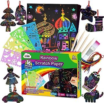 ZMLM Scratch Paper Art Set for Kids 107 Pcs Rainbow Magic Scratch Off Arts and