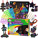 ZMLM Scratch Paper Art Set for Kids - 107 Pcs Rainbow Magic Scratch Off Arts and Crafts Supplies Kits Sheet Pack for…