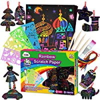 ZMLM Scratch Paper Art Set for Kids - 107 Pcs Rainbow Magic Scratch Off Arts and Crafts Supplies Kits Sheet Pack for Children Girls Boys Birthday Game Party Favor Christmas Easter Craft Gifts