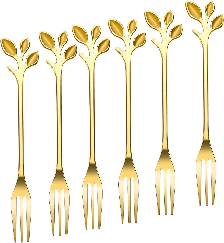 Turbokey Appetizer Cake Fruit Forks Set of 6,Gold Leaf Cocktail Picks 4.7 Inches Tasting Dessert Forks Food Grade Stainless Steel, Mirror Finish Kitchen Accessory Wedding Party (6 Forks-Gold)