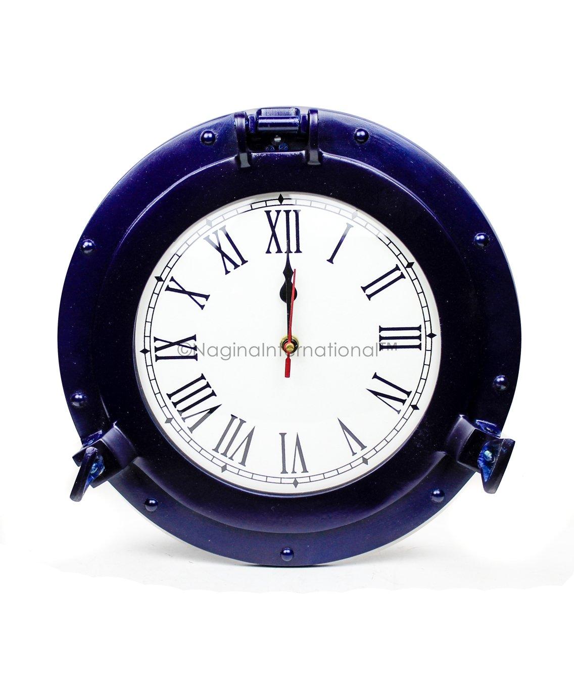 Nagina International Nautical Porthole Aluminium Blue Color | Maritime Wall Decor (15 Inches, Clock)