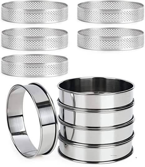 Set of 5 - O 3.15 Stainless Steel Tart Ring Mold for Baking Set of 5 Heat-Resistant Double Rolled Tart Ring 0.75 Inch High FANGSUN Perforated Tart Rings 3.15 Inch in Diameter