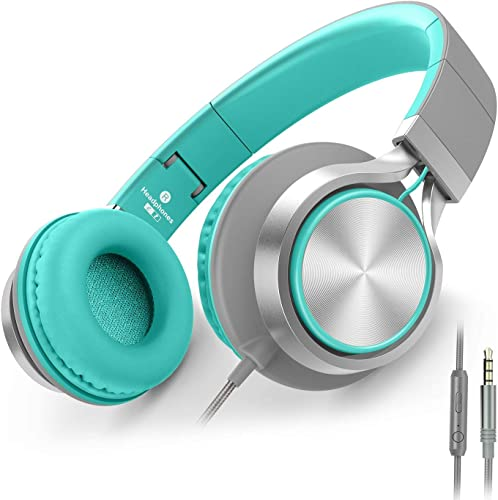 AILIHEN C8 Headphones with Microphone and Volume Control Folding Lightweight Headset for Cellphones Tablets Smartphones Laptop Computer PC Mp3 4 Grey Mint