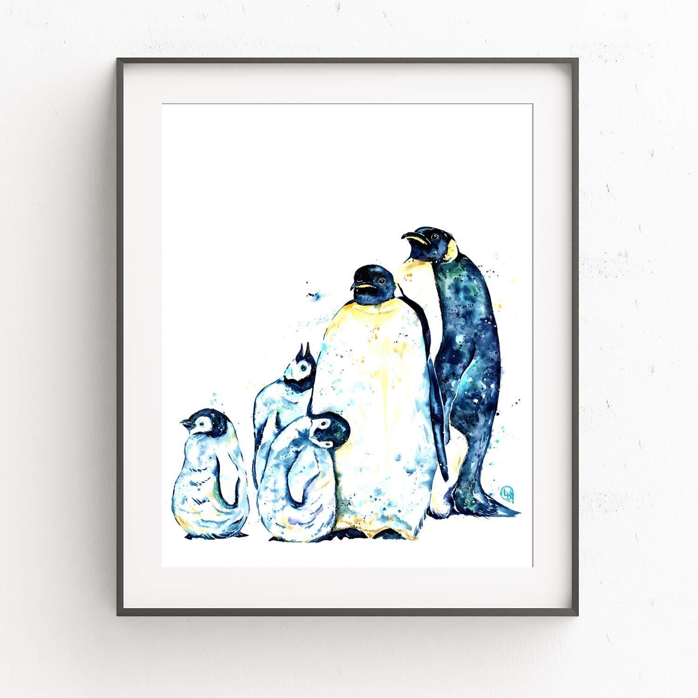 Watercolour Penguin Print Wall Art Penguin Decor Penguin Nursery Print Bright Animal Print Nursery Animals Penguin Art