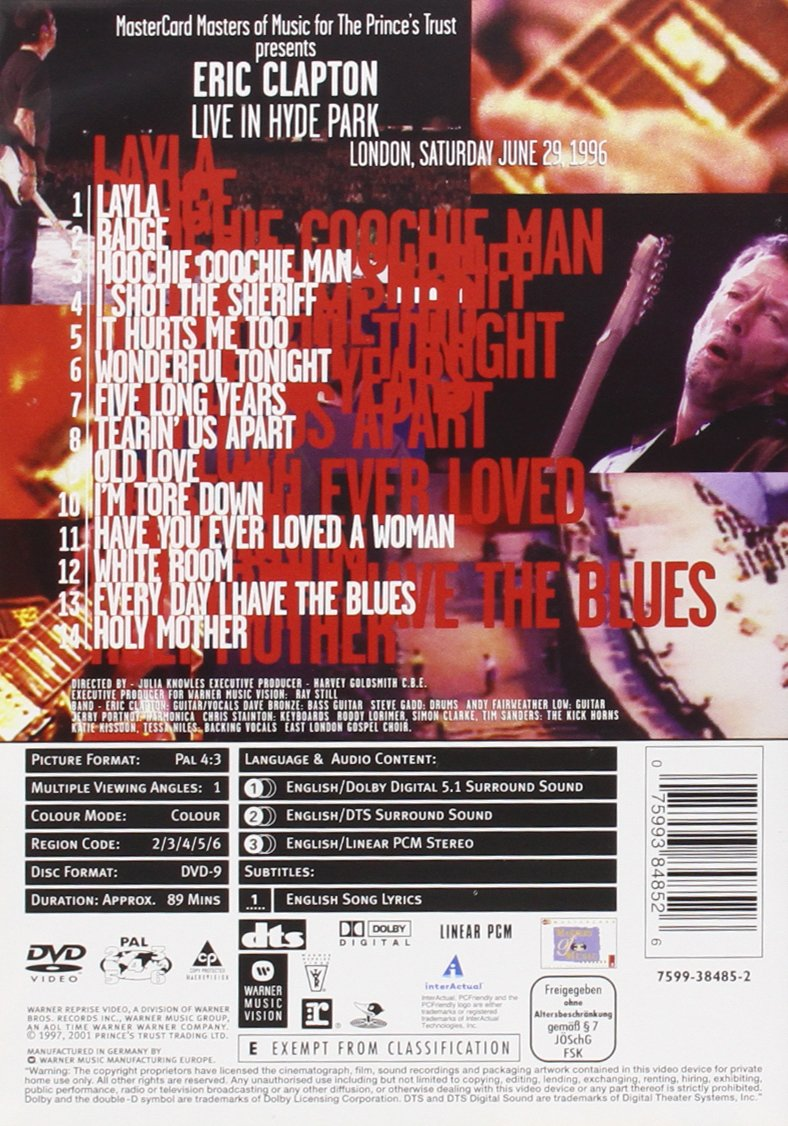 Eric Clapton - Live in Hyde Park: Amazon.de: Eric Clapton, Julia ...